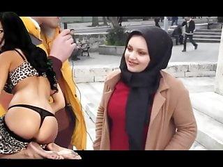 Türbanlı kızla sokakta seks röportajı yapıyorlar